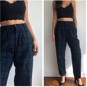 Vintage high waist plaid pure wool trousers 28